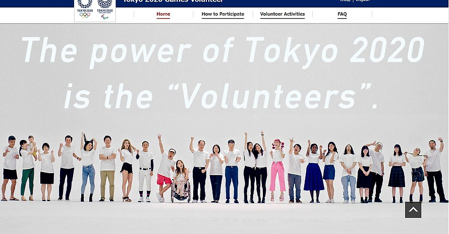 Freiwillige sind das Gesicht der Olympischen und Paralympischen Spiele. Foto: Screenshot von der Website tokyo2020.org