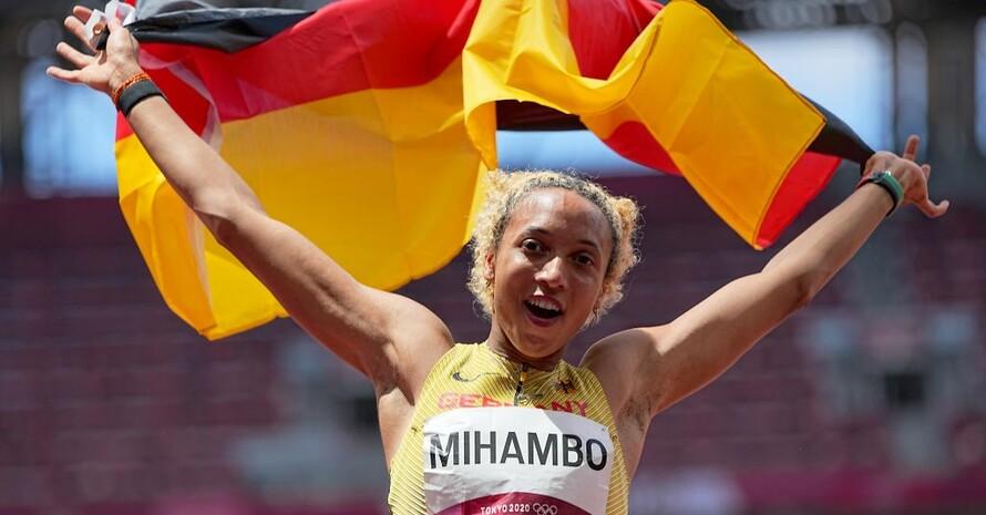 Malaika Mihambo gewinnt mit ihrem letzten Sprung im Wettbewerb Gold. Foto: picture-alliance