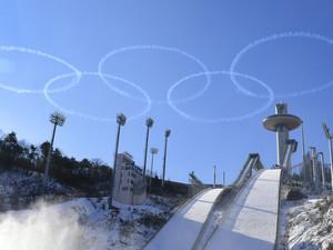Die Alpensia Skisprungschanze in PyeongChang , wo 2018 die Olympischen Spiele stattfanden. Foto: picture-alliance