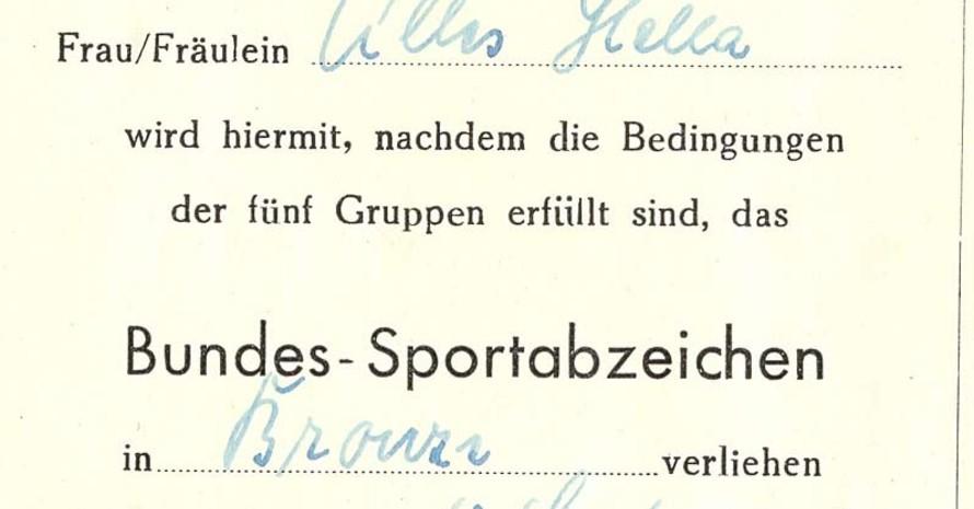 Verleihungsurkunde von 1950 (Repro: Sportbund Pfalz)