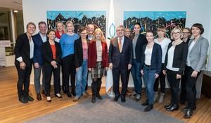 Die Gruppe der Mentees und Mentor/innen bei ihrem Besuch des IOC in Lausanne. Foto: DOSB