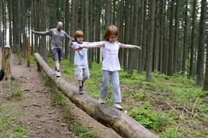 Zwei Mädchen und ihr Vater balancieren gemeinsam auf einem Baumstamm. Foto: picture-alliance.