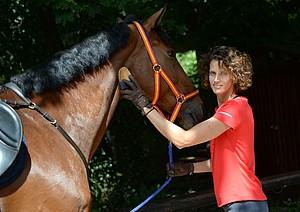 """Olympiasiegerin Lena Schöneborn pflegt ihr Pferd """"Cashew"""". Foto: picture-alliance"""