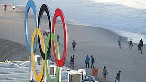 Die Olympischen Spiele in Rio de Janeiro 2016 direkt an der Copacabana. Foto: picture-alliance