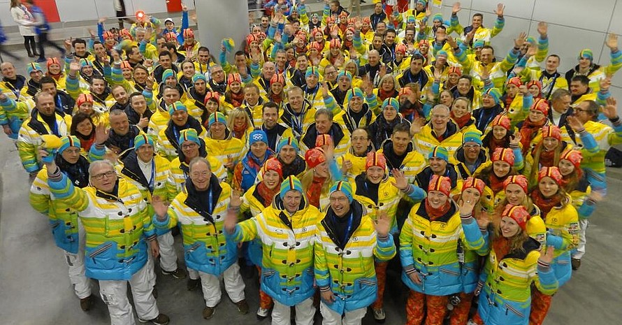 Gruppenbild vor der Eröffnung: Die Deutsche Olympiamannschaft bereitet sich auf die Feier vor. (Foto DOSB)