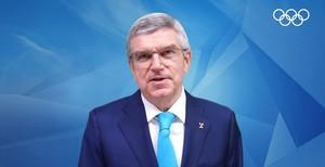 IOC-Präsident Thomas Bach sprach per Videobotschaft zu den Delegierten bei der 17. DOSB-Mitgliederversammlung. Foto: Screenshot Videobotschaft