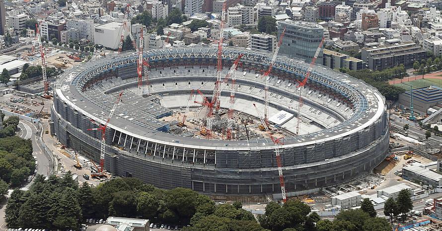Das Olympiastadion in Tokio ist noch im Bau, seine finale Form aber bereits gut zu erkennen. Foto: picture-alliance