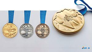 Gold, Silber Bronze - die Medaillen der 2. European Games in Minsk. Foto: MINSK2019