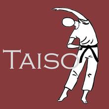 Auf dunkelrotem Untergrund ist in weiß links das Logo des DJB. In der Mitte steht in Großbuchstaben Taiso. Daneben ist eine gezeichnete Person, die einen Judoanzug mit Gürtel trägt, den linken Arm über den Kopf beugt, den rechten Arm in der Hüfte.