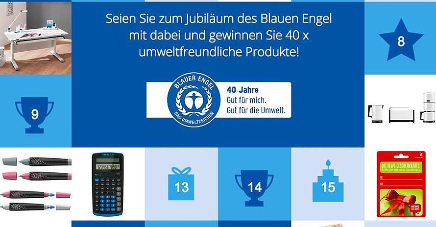 """40 umweltfreundliche Produkte und Dienstleistungen verlost """"Der Blaue Engel"""" zum 40-jährigen Jubiläum. Foto: Der Balue Engel"""