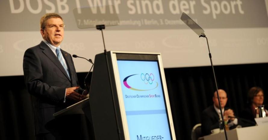Thomas Bach eröffnete die 7. Mitgliederversammlung des DOSB. Foto: picture-alliance/Frank May
