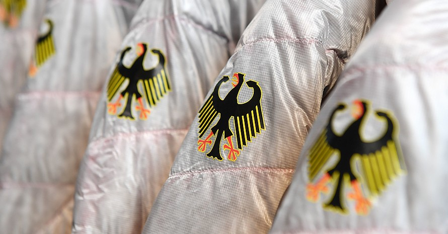 Der Bundesadler auf Jacken der deutschen Olympiamannschaft; Foto: picture-alliance
