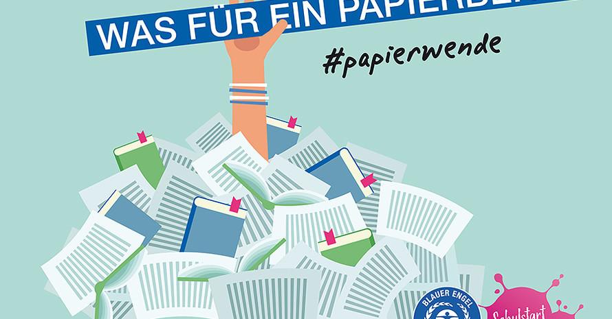 Der Blaue Engel ruft zum Schulstart zur Papierwende auf. Foto: Der Blaue Engel