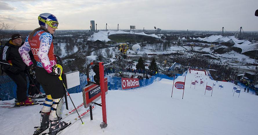 Lindsey Vonn am Start des Audi FIS Ski-Weltcup
