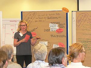 """Die Teilnehmerinnen und Teilnehmer des Fachforums wagten einen Blick in die Zukunft: Wie sieht Inklsuin 2020 aus?"""". Foto: DOSB"""