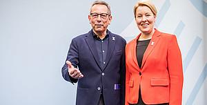 Johannes-Wilhelm Rörig mit Bundesministerin Franziska Giffey. Foto: picture-alliance