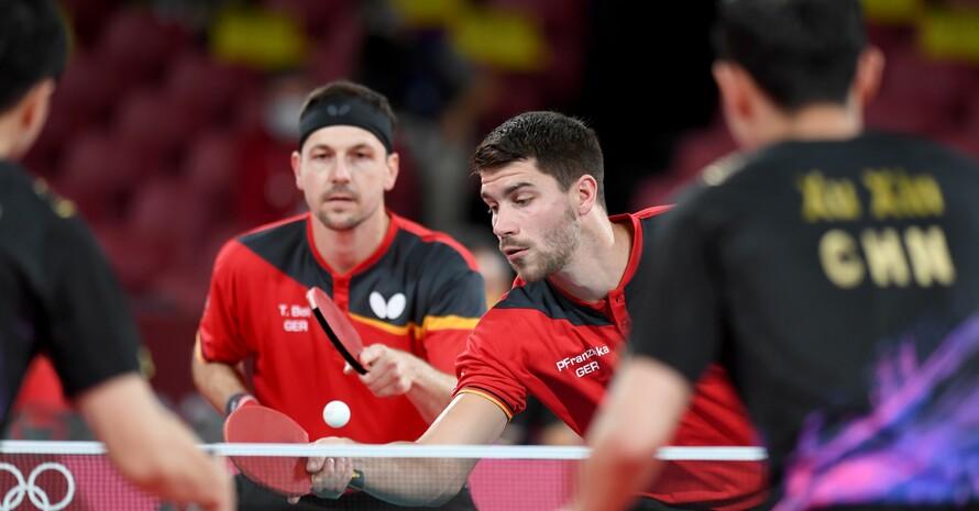 Timo Ball und Patrick Franziska spielten tolles Tischtennis im Doppel, konnten aber den Sieg der Chinesen nicht abwenden. Foto: picture-alliance
