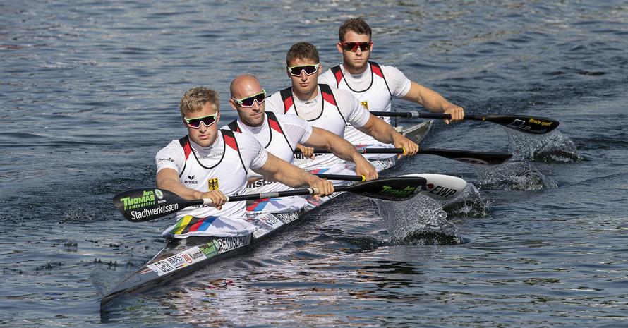 Der erfolgreiche  K4 mit Max Rendschmidt, Ronald Rauhe, Tom Liebscher und Max Lemke (v.l.). Foto: picture-alliance