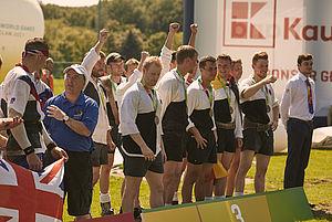 Die deutschen Tauzieher bei der Siegerehrung. Foto: IWGA