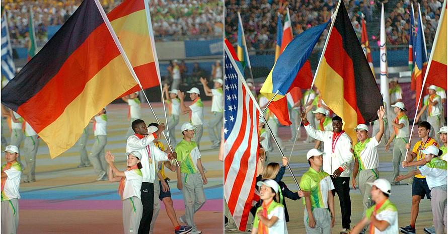 Voller Stolz trug Boxer Peter Kadiru die deutsche Fahne bei der Schlussfeier ins Stadion.