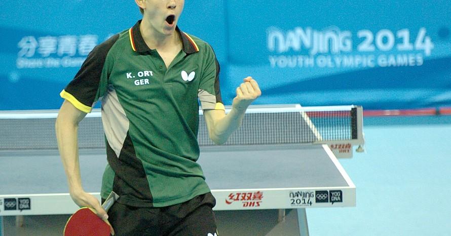 Tischtennisspieler Kilian Ort freute sich über seinen Sieg im Einzel des Mixed-Wettbewerbes.