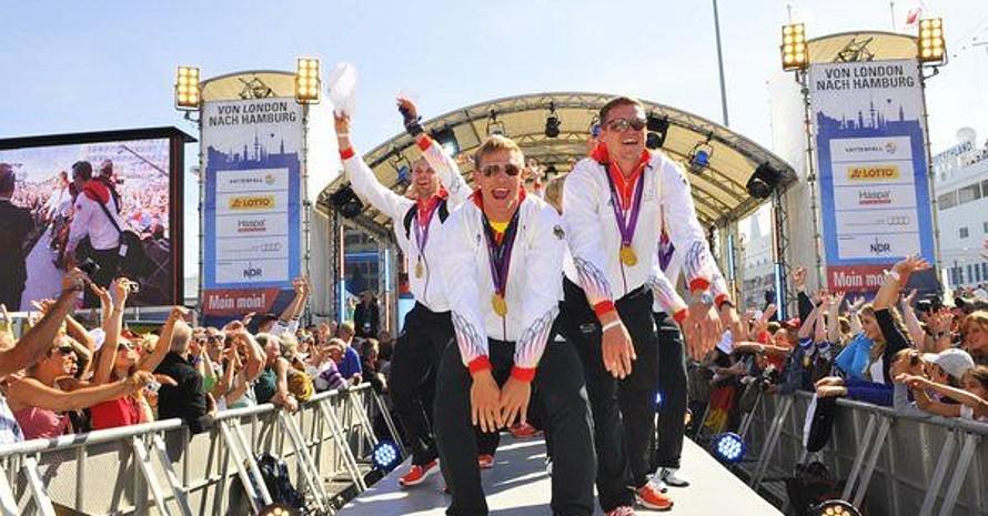 Willkommensfeier für die Deutsche Olympiamannschaft in Hamburg. Foto: picture-alliance