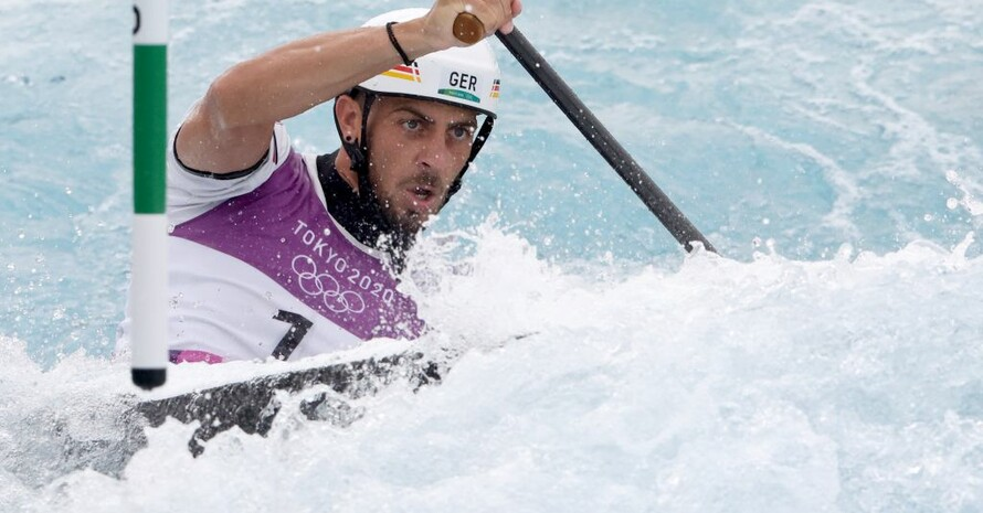 Sideris Tasiadis beim Rennen im Kasai Canoe Slalom Centre. Foto: picture-alliance