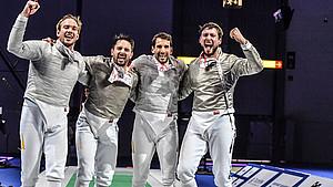 Die frischgebackenen Europameister mit Bendikt Peter Wagner, Matyas Szabo, Björn Hübner-Fehrer und Max Hartung (v.l.) Foto: DFB/Augusto Bizzi