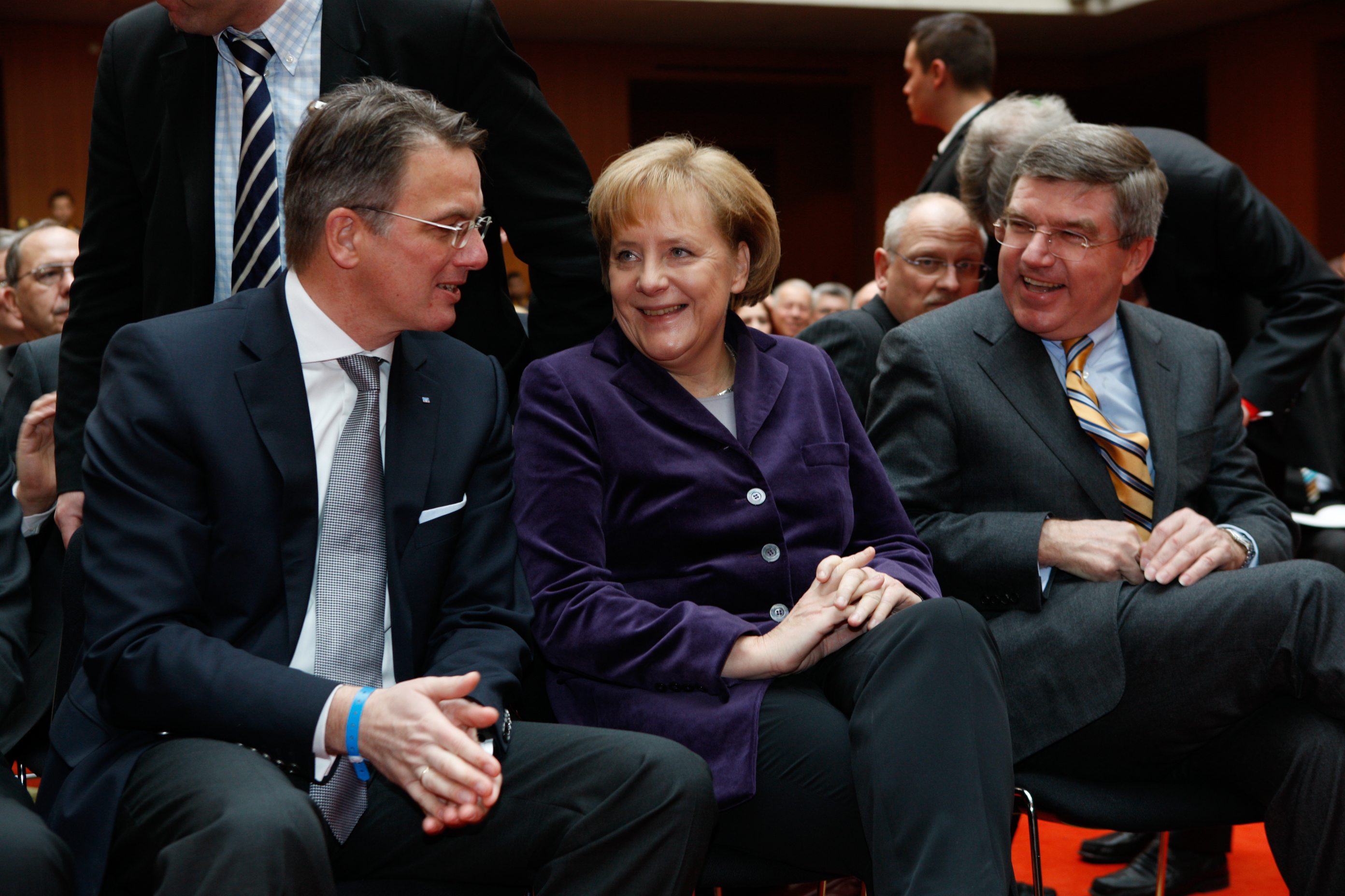 Uwe Fröhlich, Präsident des BVR, Bundeskanzlerin Angela Merkel und DOSB-Chef Thomas Bach 2010