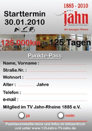 """Für 10 Punkte gibt es ein Los für die Tombola (Quelle: TV Jahn Rheine)"""""""