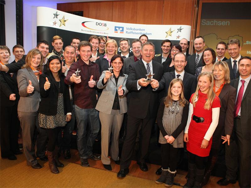 Alle Vereine und Bankenvertreter bei der Preisverleihung in Dresden