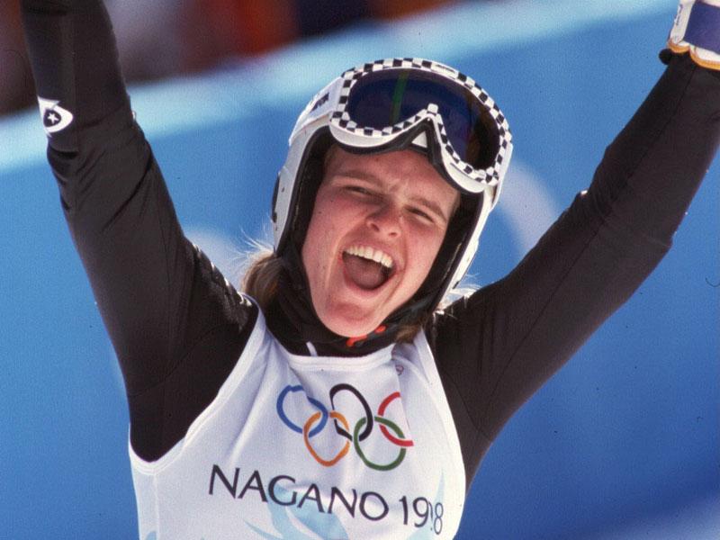 Hilde Gerg holt 1998 Slalom-Gold in Nagano. (Foto: Sammy Minkoff)