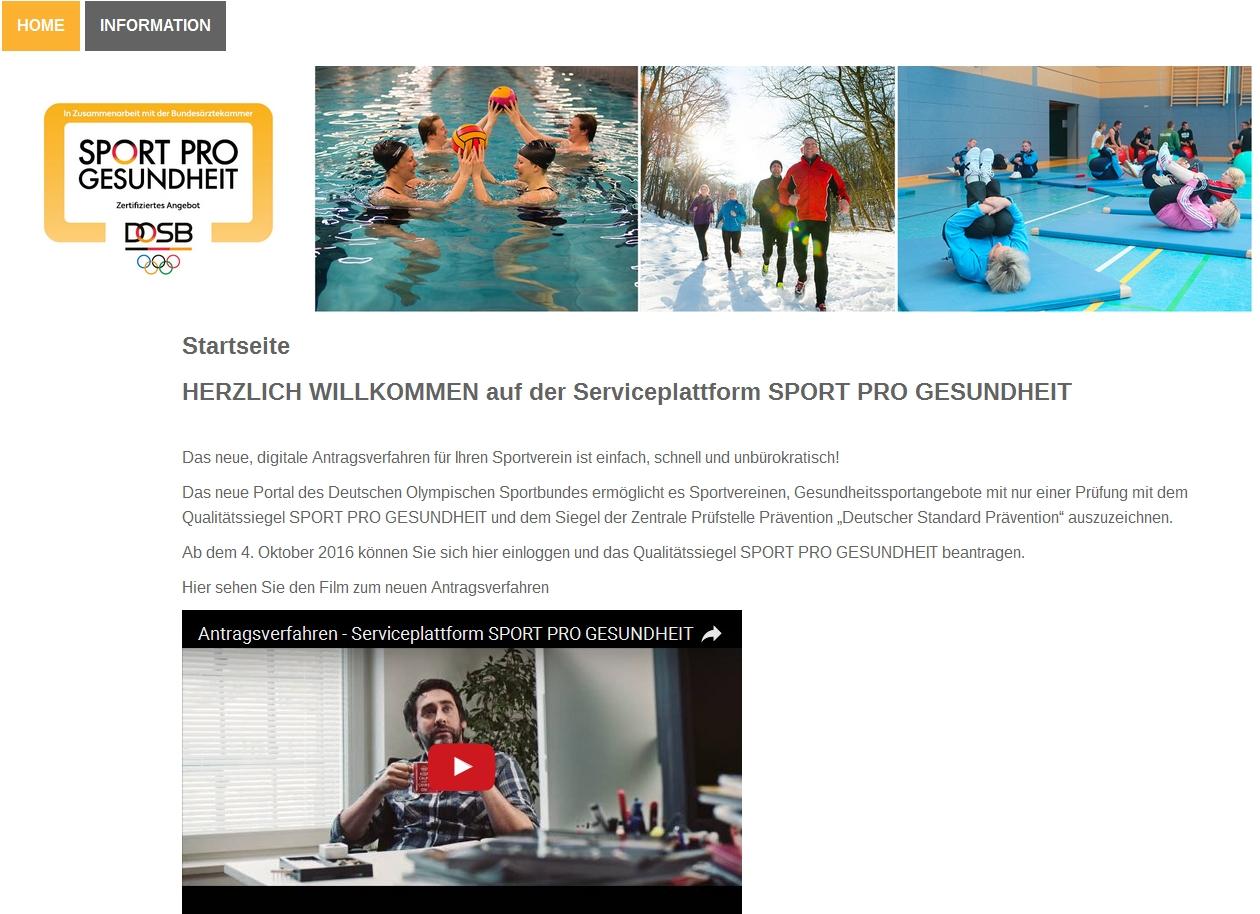 Screenshot der Serviceplattform www.service-sportprogesundheit.de